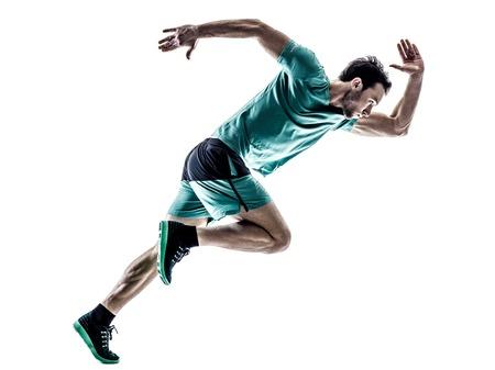 Una joven basculador hombre running trotar en silueta aislados sobre fondo blanco Foto de archivo - 54550080