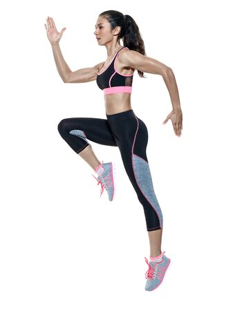 mixed raced: one mixed raced woman exercising fitness exercises isolated on white background