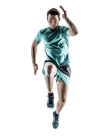 白い背景で隔離のシルエットでジョギングを実行している 1 つの若い男性ランナー ジョガー 写真素材