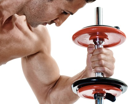 exercices: one caucasian man exercising fitness weights exercices isolated on white background Stock Photo