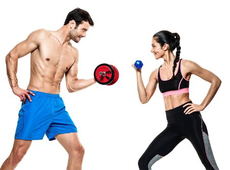 one woman: one caucasian couple man and woman exercising fitness exercises isolated on white background Stock Photo