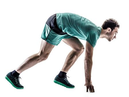 hombres corriendo: una joven basculador hombre running trotar en silueta aislados sobre fondo blanco