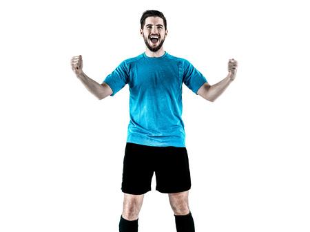 een blanke Voetballer Man geïsoleerd op witte achtergrondkleur