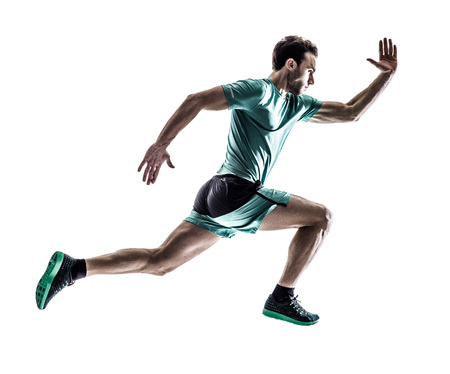 gente corriendo: una joven basculador hombre running trotar en silueta aislados sobre fondo blanco