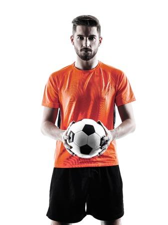 un joueur de football caucasien Homme en silhouette isolé sur blanc backgound