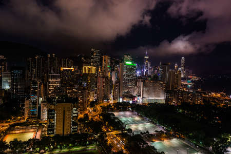 victoria park: cityscape at night on Victoria Park Causeway Bay in Hong Kong Editorial