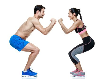 one caucasian couple man and woman exercising fitness exercises isolated on white background Reklamní fotografie