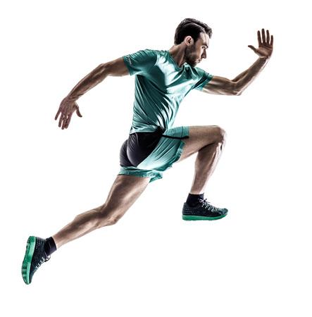 Een jonge man runner jogger hardlopen in silhouet geïsoleerd op een witte achtergrond Stockfoto