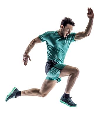 Una giovane jogger corridore uomo in esecuzione jogging in silhouette isolato su sfondo bianco Archivio Fotografico - 59895337