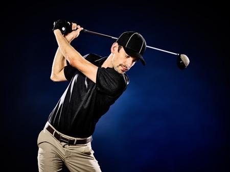golfing: one caucasian  man golfer golfing isolated Stock Photo