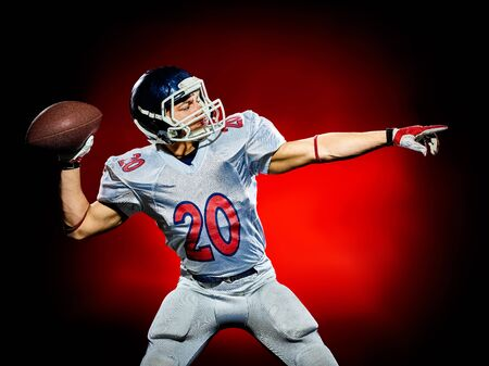 quarterback: one american football player man isolated on colorful black background