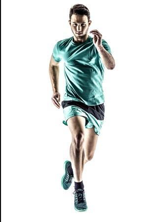 iluminado a contraluz: una joven basculador hombre running trotar en silueta aislados sobre fondo blanco