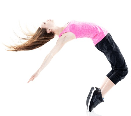 break dancer: one caucasian woman modern  dancer dancing in studio isolated on white background Stock Photo