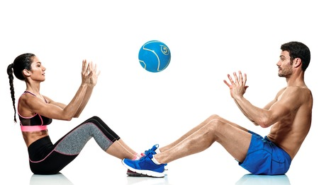 one caucasian couple man and woman exercising fitness exercises isolated on white background Stock Photo