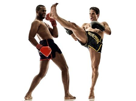 kickboxer: one caucasian Muay Thai kickboxing kickboxer thai boxing men isolated on white background