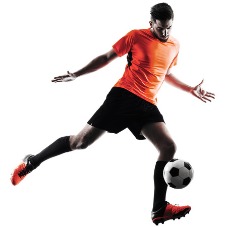 een blanke voetballer Man in silhouet op een witte achtergrondkleur