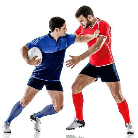 dwie rasy gracz rugby mężczyzn studio na białym tle