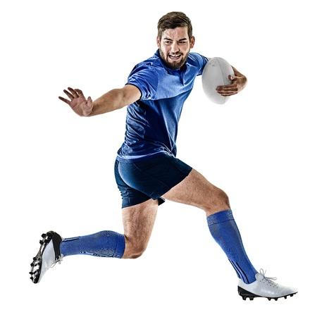 een blanke rugbyspeler man studio geïsoleerd op witte achtergrond Stockfoto