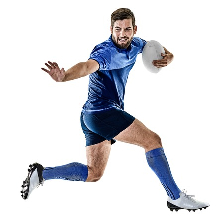 one caucasian rugby player man studio isolated on white background Фото со стока