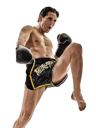 kickboxer: one caucasian Muay Thai kickboxing kickboxer thai boxing man isolated on white background Stock Photo