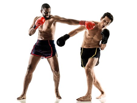 kickboxer: one caucasian kickboxing kickboxer thai boxing men isolated on white background Stock Photo