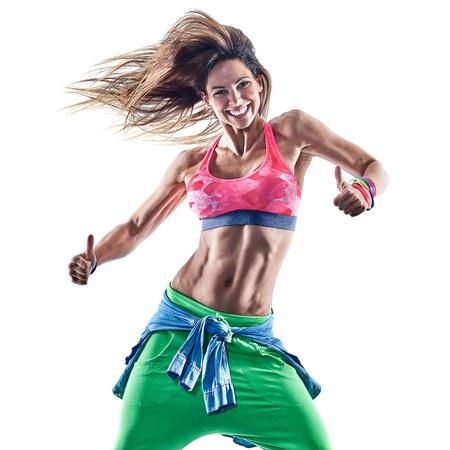una mujer caucásica bailando ejercicios de fitness ejercicio de bailarina en el estudio aislado en el fondo blanco Foto de archivo