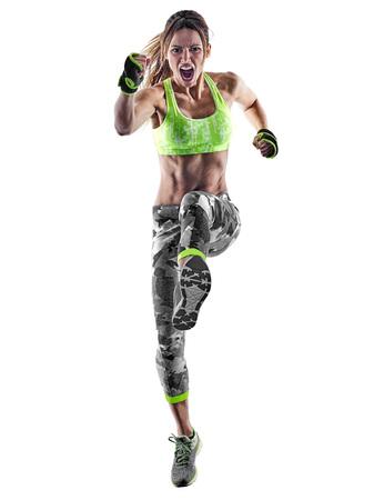 1 つの白人女性を行使フィットネス ボクシングの白い背景で隔離のスタジオでピラティス piloxing excercises