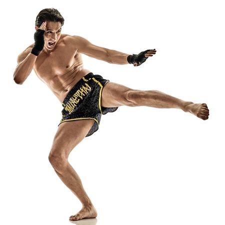 one caucasian Muay Thai kickboxing kickboxer boxing man isolated on white background