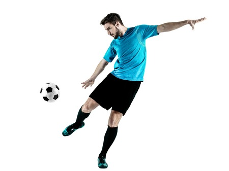 soccer player: one caucasian Soccer player Man isolated on white backgound