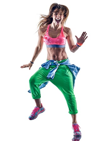 one caucasian woman exercising fitness excercises  dancer dancing in studio isolated on white background Zdjęcie Seryjne - 68281028
