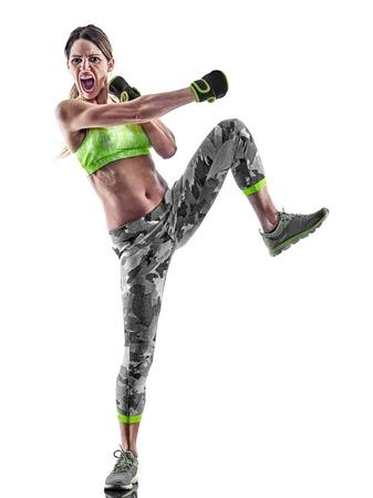 1 つの白人女性を行使フィットネス ボクシングの白い背景で隔離のスタジオでピラティス piloxing excercises 写真素材 - 66282243