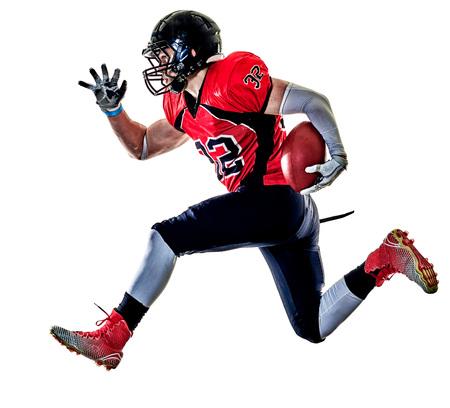 un giocatore di football americano uomo in studio isolato su sfondo bianco