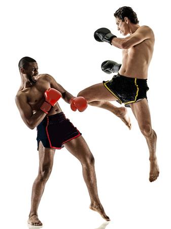 one caucasian Muay Thai kickboxing kickboxer thai boxing men isolated on white background