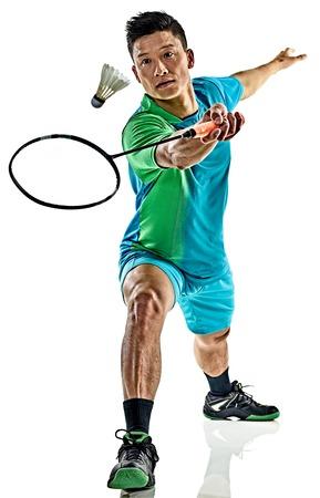 Een Aziatische badminton speler man op een witte achtergrond Stockfoto - 68281319