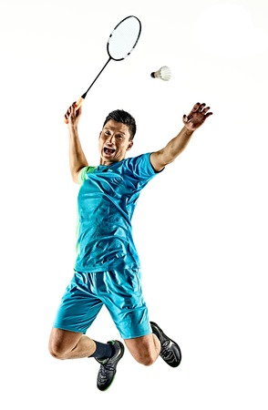one asian badminton player man isolated on white background Фото со стока