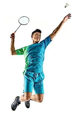 een Aziatische badminton speler man op een witte achtergrond Stockfoto