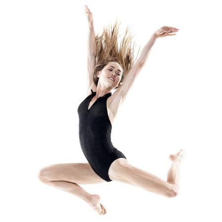 donna che balla: one caucasian woman dancer dancing in studio isolated on white background Archivio Fotografico