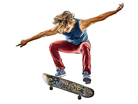 한 백인 스케이트 보더 어린 십대 남자 스케이트 보드 흰색 배경에 고립 된 스톡 콘텐츠