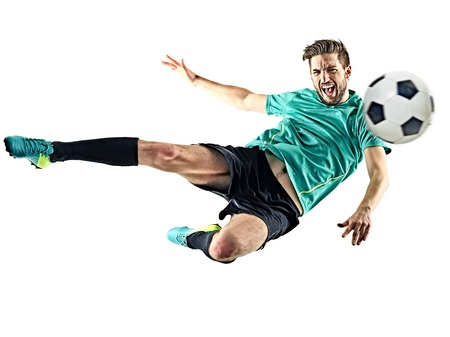 one caucasian soccer player man isolated on white background 写真素材