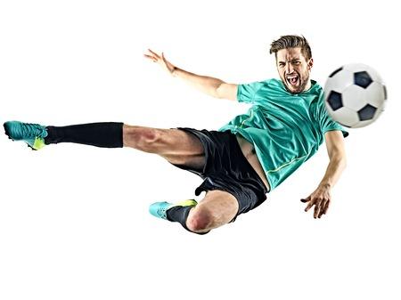 한 백인 축구 선수 남자는 흰색 배경에 고립 스톡 콘텐츠