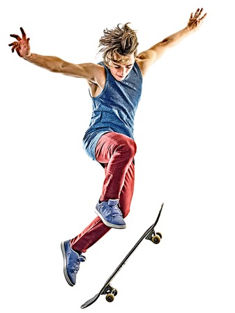 スケート ボード白人スケートボーダー 10 代の若い男隔離白い背景の上の 1 つ