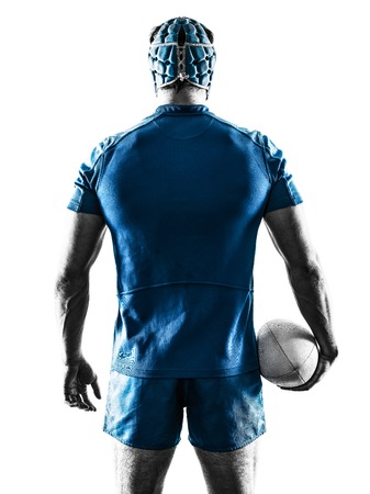 rugby player: one caucasian rugby man player silhouette isolated on white background