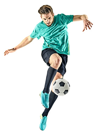 one caucasian soccer player man isolated on white background Banco de Imagens