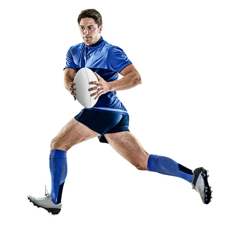rugby player: one caucasian rugby player man studio isolated on white background Stock Photo