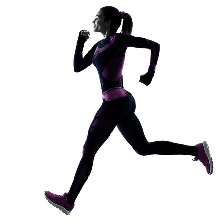 shadow silhouette: one young caucasian woman runner running jogger jogging isolated silhouette shadow on white background