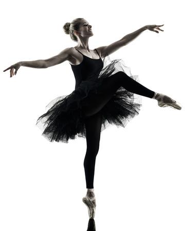 donna che balla: una donna caucasica della ballerina ballerino ballo isolato su sfondo bianco in silhouette
