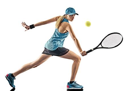 een jonge Kaukasische tennis vrouw geïsoleerd in silhouet op een witte achtergrond Stockfoto