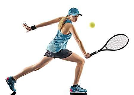 eine junge kaukasische Tennis Frau in der Silhouette auf weißen Hintergrund