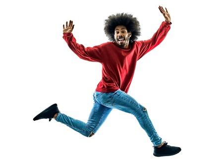 Un uomo africano felice di salto in silhouette isolato su sfondo bianco Archivio Fotografico - 72941276