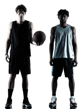 shadow silhouette: two basketball players men isolated in silhouette shadow on white background